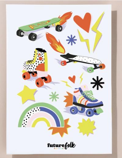 skater sticker sheet