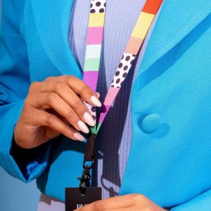 colourful striped and spotted lanyard