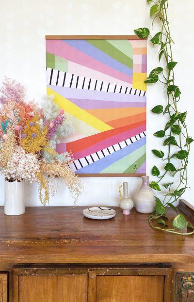 colour study tea towel hanging on wall