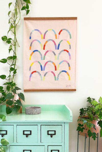 happy hills tea towel haning wall art