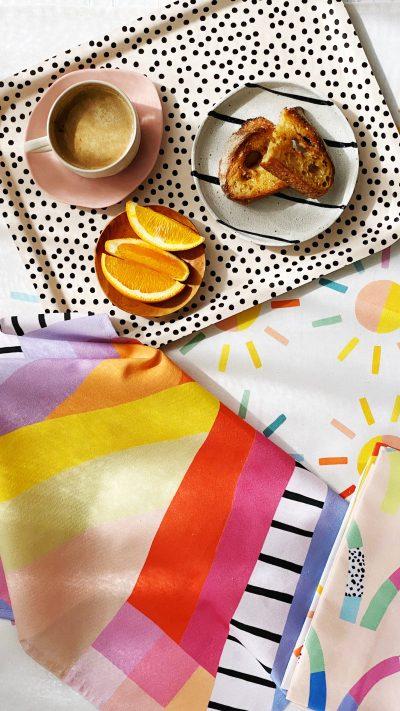 tea towels flat lay closeup