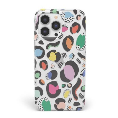 Rainbow leopard print phone case